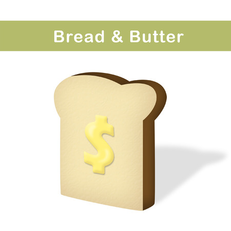 Slice of bread with butter shaped as dollar sign. Фото со стока