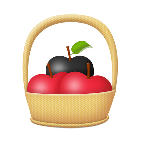 Basket of apples with a black apple.