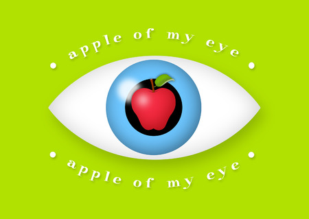 lady in red: Apple in the middle of eye. Stock Photo