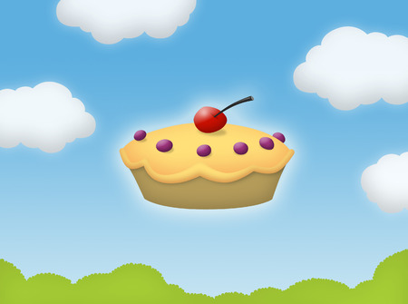 Pie floating in the sky with clouds.
