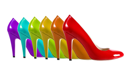 High heel shoes in rainbow colors.
