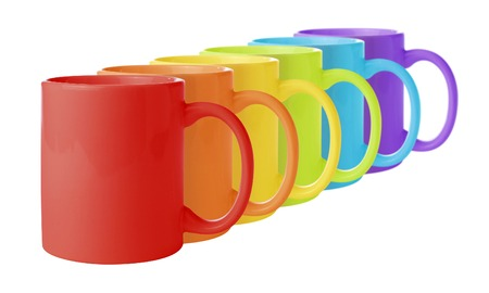 Line of mugs in rainbow colors.