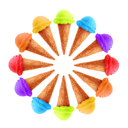ice: Circle of ice cream in rainbow colors.