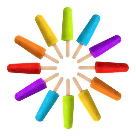 paletas de hielo: C�rculo de paletas de colores del arco iris.