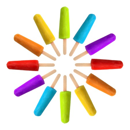 flavors: Circle of popsicles in rainbow colors.