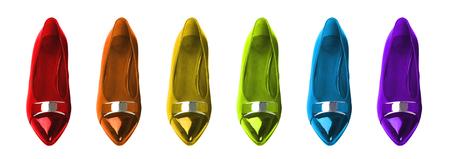 Flat shoes in rainbow colors. Standard-Bild