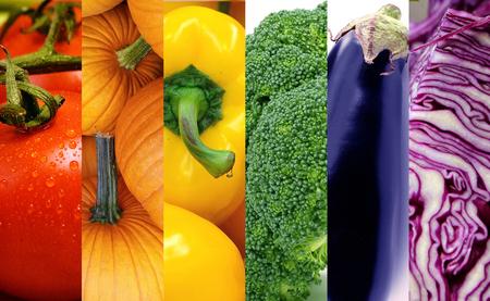 Different veggies in rainbow colors. Standard-Bild