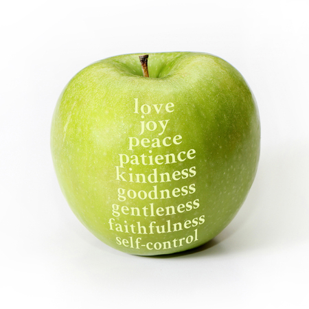 Apple representing the fruit of the Spirit.