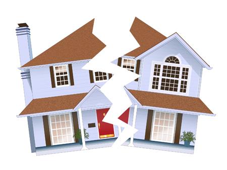 Casa dividida en dos que representa el hogar roto. Foto de archivo