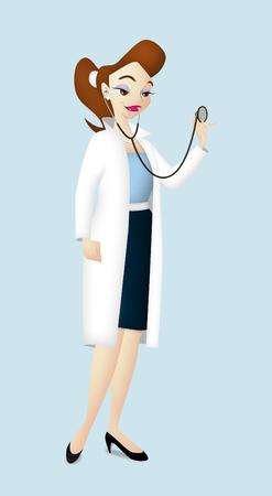 Cartoon female doctor with stethoscope.