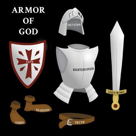 하나님의 갑옷, 엡 6 : 13-17 스톡 콘텐츠