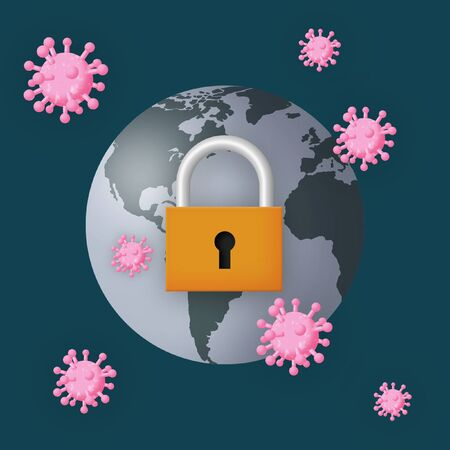 Planet Earth with padlock and viruses. Standard-Bild