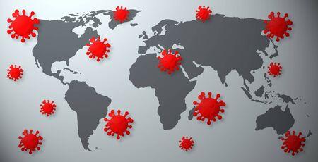 World map with corona viruses.