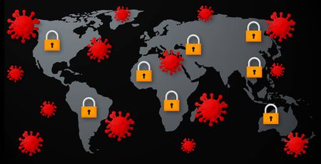 World map with viruses and padlocks.