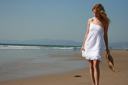 Beautiful Girl on Beach Standard-Bild
