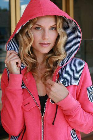 Beautiful model with hoody on photo
