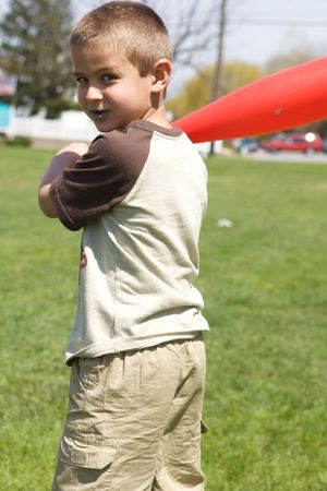 Cute little boy with baseball bat Stock Photo - 4825391