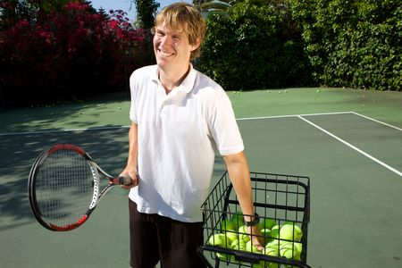 Tennis Instructor Teaching His Student Stock Photo - 4963909