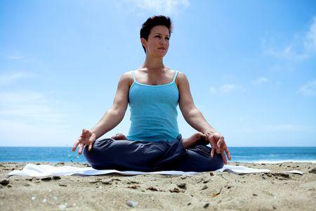 Yoga on the Beach Stock Photo - 5014183