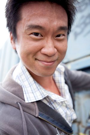 Portrait of an interesting asian man with an honest face photo