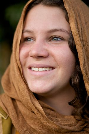 selected: A Beautiful Girl with a cloth hood and green eyes