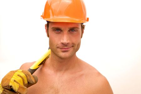 A hunky construction worker with an ax photo