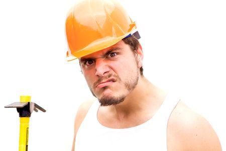 tough: A tough guy in a hard hat Stock Photo