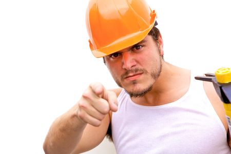 tough: A tough guy in a hard hat Stock Photo