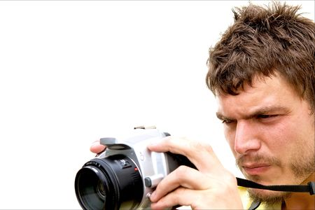 A young photographer with a camera photo