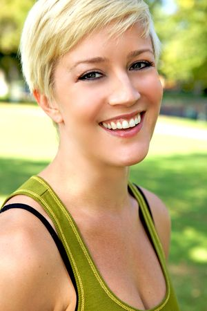 A Beautiful Blond Girl With A Pretty Smile photo