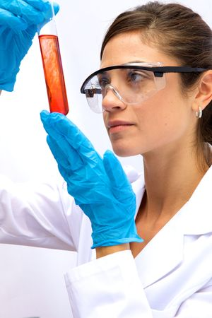 A female scientist working in a Lab with a test tube Stock Photo - 6355798