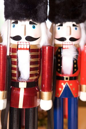 Nutcrackers looking at the camera at christmas holiday photo