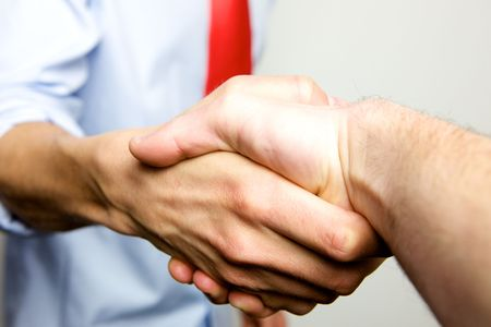 Working Together - Hand Shake with great spirit photo