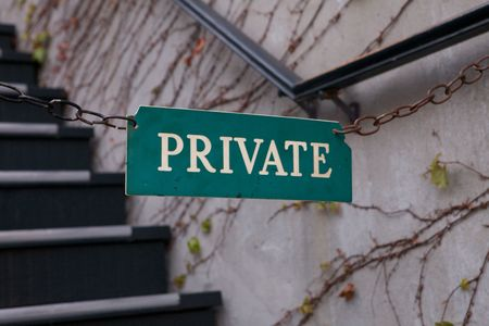 private access: A Private Sign leading upstairs to a restricted area