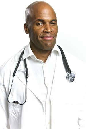 eye doctor: A Young African American Doctor With a Stethoscope  Stock Photo