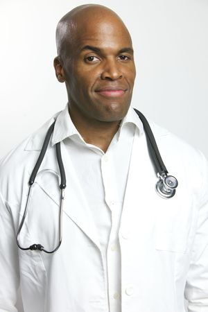 A Young African American Doctor With a Stethoscope  Фото со стока