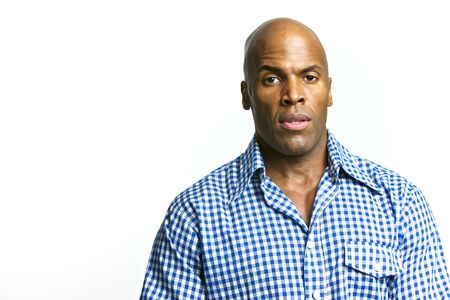 collared shirt: A young attractive African American Man with a Collared Shirt Stock Photo