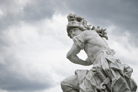 mars: A marble statue, from around 1750, located at Sanssouci  summer palace of Frederick the Great, King of Prussia, in Potsdam, near Berlin  This specific statue is Mars, and is part of a group of statues placed around the basin of The Great Fountain, located