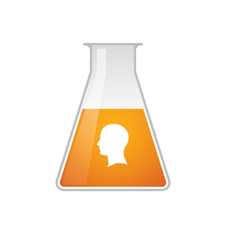 Chemical test tube with head icon Illustration