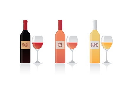 Isolated bottles with label and glasses of wine set Illustration
