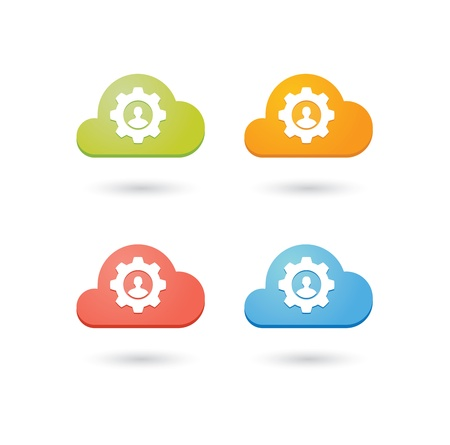 Composition of colored clouds with team work related icons