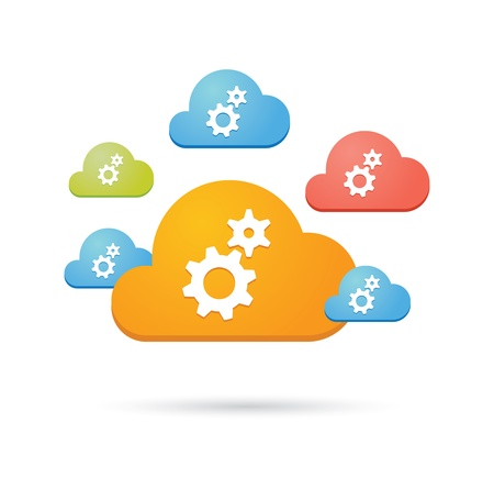 Composition of colored clouds with cloud computing related icons