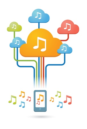 Composition of colored clouds with music related icons