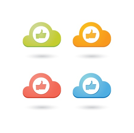 Composition of colored clouds with social media related icons