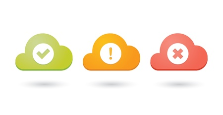 Composition of colored clouds with  check, alert and cancel icons Illustration