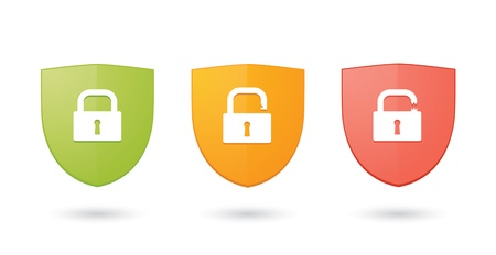 A set of informatic protection shield icons Vector