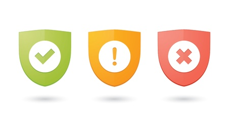 INFORMATIC 보호 방패 아이콘의 세트