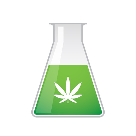 A chemical test tube with a marijuana leaf icon