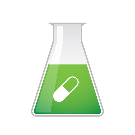 A chemical test tube with a pill icon Stock Vector - 21960193