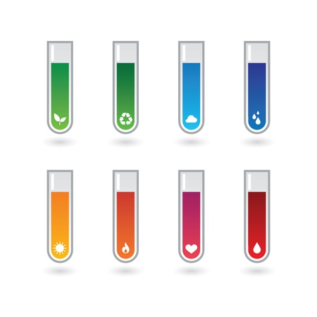 A chemical test tubes with icons set Stock Vector - 21960215